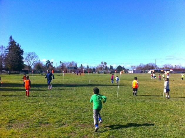 Black Oaks Youth Soccer training for 2013 season at Jennings Park in Santa Rosa, California